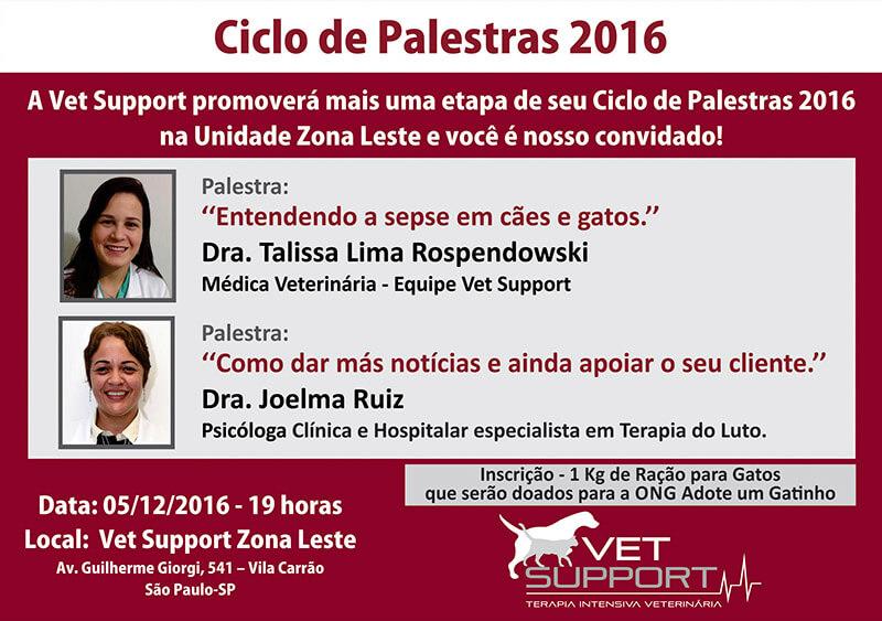 Ciclo de palestras Vet Support 2016 – Dezembro